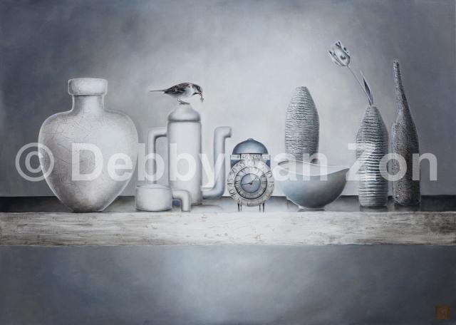 Stilleven; Silence in White, Acryl op linnen, gemengde techniek, 100 x 140 cm.