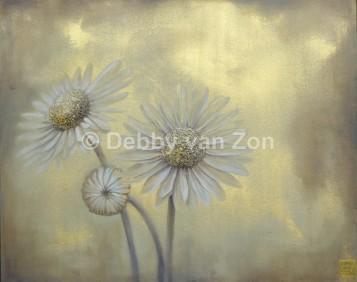 Bloemen; Madelief; Acryl op linnen, goudpoeder, gemengde techniek, 80 x 100 cm